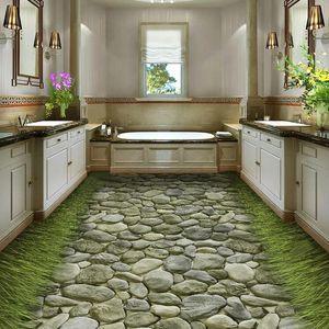 PVC Wallpaper 3D Stereo Stone Road Grass Floor Mural Self-Adhesive Waterproof Bathroom Kitchen Tiles Floor Sticker 3D Home Decor