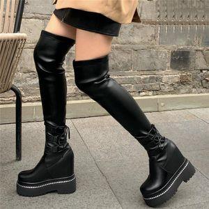 부츠 허벅지 높은 패션 스니커즈 여성 정품 가죽 웨지 힐 무릎 위 여성 슬림 다리 플랫폼 펌프 Shoes1