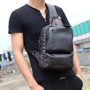 Men's Crossbody Chest Bags Men's USB Charging Headphone Plug Leather Shoulder Bag Diagonal Package New