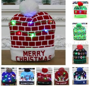 Christmas Led light up Knitted Hats Pom Ball Beanies Xmas Ski Cap Santa Snowman Reindeer Tree Hat For Adult Kids