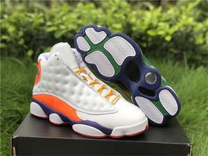 2021 Autêntico 13 GS Playground Athletic Shoes Mulheres Branco / Black-Court Roxo-Total Laranja Real Fibra de Carbono Sneakers Sports com Original