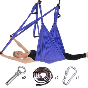 Full Set 6 Handles Anti-gravity Aerial Yoga Ceiling Hammock Flying Swing Trapeze Yoga Inversion Device Home GYM Hanging Belt Q1125