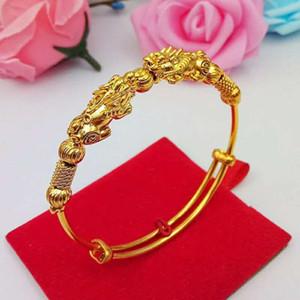Вьетнамский песчаный золотой Gold Gold Push Pull Bracte Brach Brash Gold Plated ювелирные изделия свадебный браслет подарок бревен F1130 F1201
