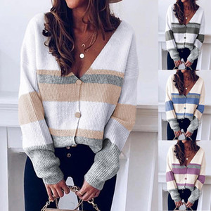 Leosoxs 2020 Spring Autumn Fashion Sexy Deep V Neck Women's Sweater Casual Loose Stripe Patchwork Long Sleeve Lady Knit Sweater