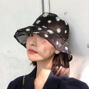 Fashion Small Fresh Daisy Sun Cap Ladies Daisies Embroidered Bucket Hat Women Transparent Panama Lace Flower Hats For Femme