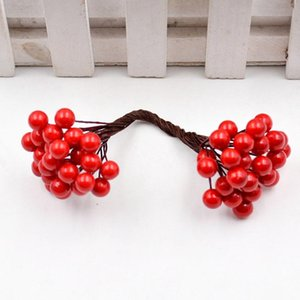 25pcs Lot Double Head Stamen Berry Artificial Flowers For Needlework Decor Wedding Party Decor Craft Gift Diy Scrapbooking H jlljoZ