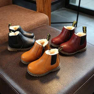 Classic Kids Winter Shoes Black Brown Red Toddler Girls Ankle Boots Warm Martin Boots for Boys Warm Children Snow Boots D06293 Y1116