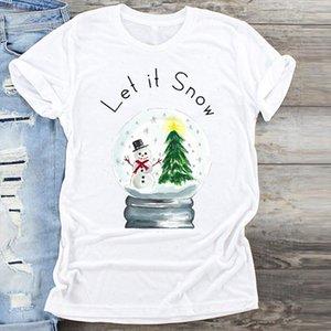 Women Cartoon Snowman Tree Fashion Clothing Merry Christmas Print Clothes Graphic Female Tshirts Top T Shirt Ladies Tee T Shirt