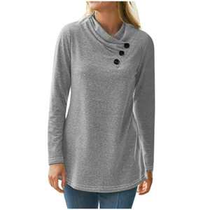 Fashion Buttons T-Shirt Casual Basic Tops Autumn Winter Ladies Solid Tunic Tops Female Women Long Sleeve Shirt Blusas Pullover