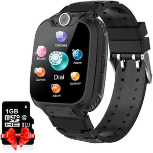 Yenisey Kinder Smart Watch mit SD-Karten Spiel Uhr Jungs-Jungen und Mädchen Zwei-Way-Anruf-Musik-Spieler-Kamera für Kindergeburtstagsgeschenk (schwarz)