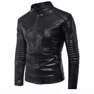 Spring Autumn Winter Men PU Leather Jackets For Men Motorcycle Jackets For Men Solid Casual Zipper Long Sleeve Coat T170720