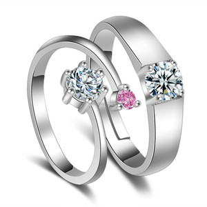 Silver Rings Adjustable Cubic Zircon diamond ring engagement rings for women men couple wedding ring fashion jewelry will and sandy new