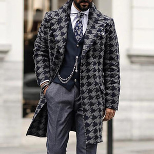 Diseñadores para hombre Hombres Largo Woolen Wind Coat Casual Doble Breasted Mens Wool Outcoat Winter 2020 Houndstooth Jacket Hombres Trench Coat