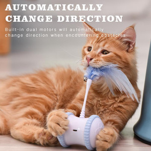 Interactive Pet Dog Cat Electric Toy Micro USB Powered Tumbler Automatically Change Direction Teasing Wand Ball Rotating Wheels