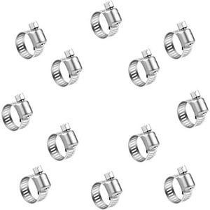 Hose Clips Worm Drive Pipes Stainless Steel Hose Clamps 100 Pack (9-16 mm) for Securing Cable, Tuble