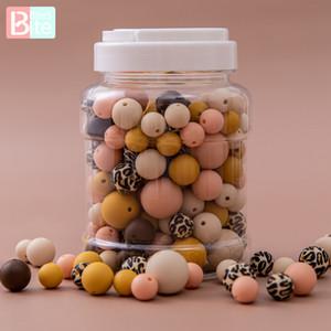 Isırık Isırıkları 200 adet Silikon Boncuk Yuvarlak Bebek Diş Çıkarma DIY Seti 3 Boyutu Gıda Sınıfı BPA Ücretsiz Çiğnenebilir Boncuk Dişi Setleri Q1214