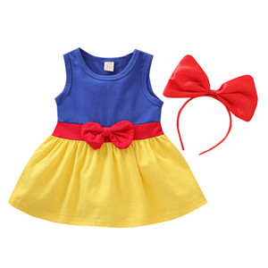 Baby Girls Dresses Infant Sleeveless Princess Dress Toddler Girls Splice Casual Outfits Bow Kids Cartoon Clothes With Hair Sticks 061127