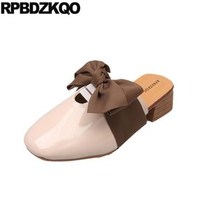 pumps square toe patent leather beige sandals bow cheap kawaii 2020 brown mules slipper ladies low heels summer shoes unique