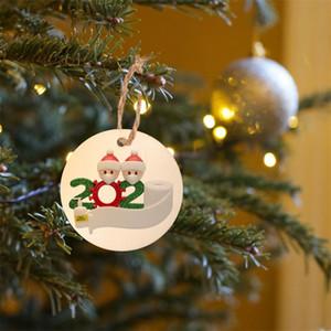 Round DIY Name Blessing Pendant Wooden Christmas Tree Ornaments 2020 Pendants Merry Xmas Decor Snowman Hanging Hot Sale 1 5mx G2