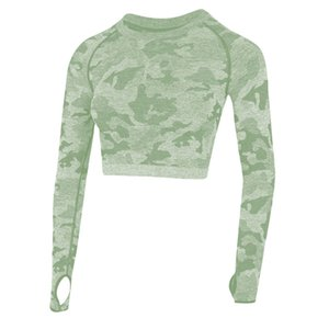 2020 New Women's Fitness T-Shirt Sport Crop Top Long Sleeve Layer Crew Neck Power Stretch Yoga Crop Top Sexy Gym Clothing