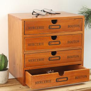 Vintage Wooden Box Storage Drawer Wooden Chest Of Drawers Jewelry Cosmetics Organizer Office Home Decoration Desktop Storage Box Z1123