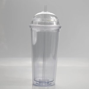 20oz new acrylic cups clear drinking tumblers with transparent straw and dome lid Double wall Large capacity plastic bottle sea ship FWD3157