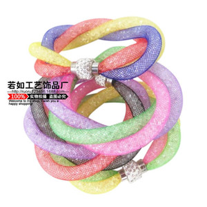 2020 New hot selling three layers braided mesh filled with resin rhinestone bracelet lady love magnetic buckle bracelet
