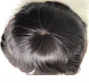 Hot Sale Natural Men Hair Toupees 6inch Black Indian Virgin Human Hair Replacement Lace Front Toupee for Men Free Shipping