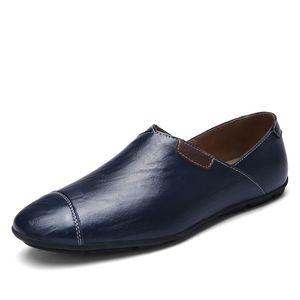Autumn Casual Shoes Large Size Mens Shoes Cowhide Trend Lazy Walking Fashion Shoes 37-47