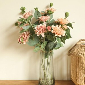 Decorative Flowers & Wreaths INS Japanese Dahlia Branch With Fake Leaves Silk Artificial House Decor Pography Living Room Decoration Flores