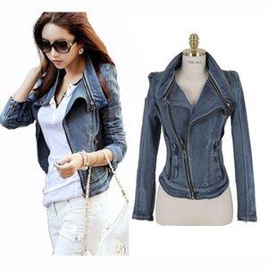 Vintage Denim Jacket For Women Fashion Slim Zipper Blue Women Coat Autumn Long Sleeve Turn Down Collar Ladies Short Jacket