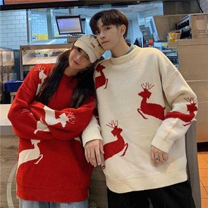 Christmas Couple Sweater Knitwear Clothing College Fashion Korean Style Lovers Women Family Look Matching Clothes Outfit Wear