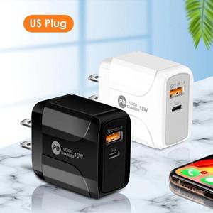 18W Charge Rápido QC 3.0 PD Tipo C USB Parede Carregador UE UN UK Plug para iphone 7 8 x XS Max 11 Pro 12 12 Mini Samsung Telefone Android