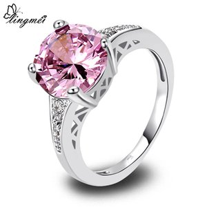 lingmei Wholesale Wedding Bridal Round Purple Pink Red Zircon Silver Color Ring Size 6 7 8 9 10 11 12 13 Love Style Women Gift