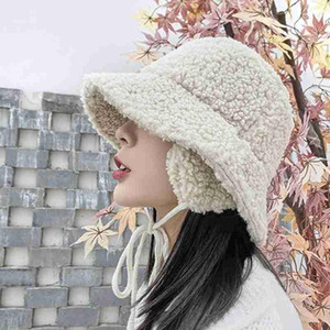 Winter Hats Women Thick Bucket Hats with Earmuffs Solid Color Lamb Hair Bucket Hat Warm Caps