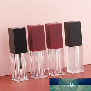 50pcs Black Square Plastic Lip Gloss Bottle, Empty Clear Lipgloss Tube with Rose Gold Cap,Pink Beauty Lip Oil Packing Tube