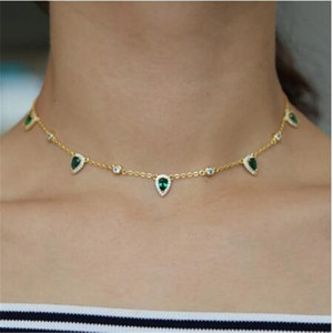 fashion vintage jewelry green crystal Choker necklace water drop round charm link chain trendy zircon necklaces