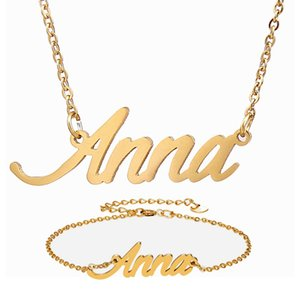 """Fashion Stainless Steel Name Necklace + Bracelet Set """" Anna """" Script Letter Gold Choker Chain Necklace Pendant Nameplate Gift Z1201"""