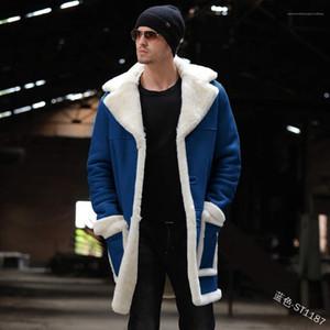 Winter lange Mäntel männliche warme Taschenkleidung Herren Lambswool Revers Nackenmäntel Langarm Plus Samt