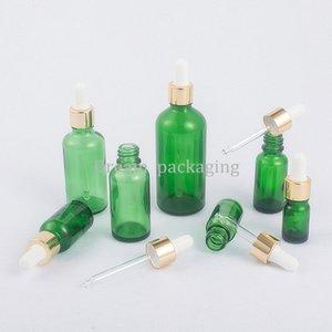 Pipetee Aceite 30 ml Reactivo de líquido de vidrio verde vacío Esencial Eye Dropper Bottle Manguera Aromaterapia 15pc 5ml-100ml con caída ckomi