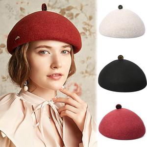 ISHOWTIENDA Fashion Vintage Hat Women Winter Beret Cap Hat Korean Painter Newsboy Cap Berets Pure Color Headwear Gh6
