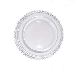 27 سنتيمتر جولة حبة الأطباق الزجاج لوحة مع الذهب / الفضة / واضحة مطرز حافة جولة خدمة عشاء صينية الزفاف الجدول الديكور GGA3206 141 G2