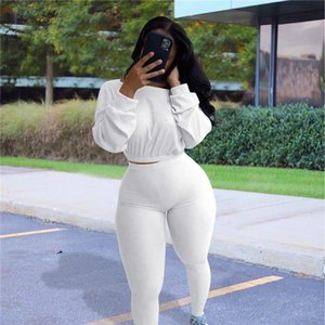 Casual Sportswear Women Matching Set Long Sleeve Tops Fashion Workout Ribbed Tracksuits Skinny Top And Pants Co-ord Sets YS0J