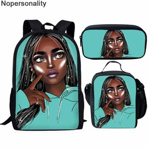Nopersonality Green Portfolio School Bags for Girls Book Bag Mochila African Afro Girls Lady Kids School Bags Set Large Capacity