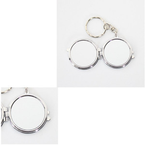 Sublimation Blanks Keychain Cosmetic Mirror Double Circle DIY Stainless Steel Keyring Compact Portable Key Buckle Girl Outdoors 3 2hy M2