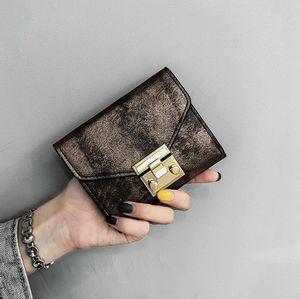 Hot Sale New women vintage lock short designer wallets lady fashion zero purses female fashion card bags black pink brown green color