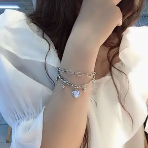 New Girls Dark Double Life Tree Love Heart Love Pearl Chain Temperane Bracelet Silvery beautiful bracelet individual character Bracelet