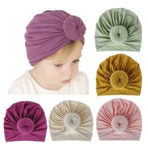 Bebek Çörek Şapka Yenidoğan Elastik Pamuk Bebek Beanie Kap Yay Çok Renkli Bebek Türban Şapkalar Bebek Kafa ZYY553