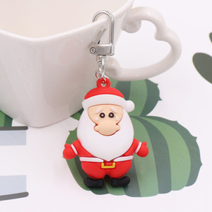 China Christmas Cartoon PVC Plastic Soft Rubber Keychain Pendant Promotional Gift American Santa Claus Pendant accossories decoration