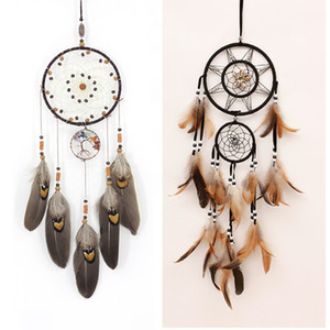 Handmades Dreamcatcher Wind Chimes Handmade Nordic Dream Catcher Net With Feathers Hanging Dreamcatcher Craft Gift Home Decoration